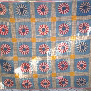 1800's hand made hand stitched feed sack quilt needs a few repairs Very Early Quilt