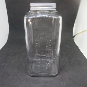 """1880's Glass Canning Jar Wampole's Milk Food Cottage Farmhouse Collectible Display marbles buttons storage apothecary kitchen Square 9"""" tall"""