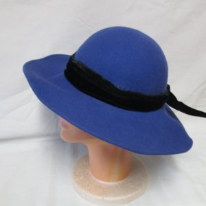 1940's Royal Blue Hat with Black Velvet ribbon and bow large brim 100% wool Kentucky Derby Collectible display tv movie prop