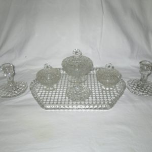 1940's waffle pattern dresser set powder ring holder jewelry & trinket dish tray candleholders vanity collectible display tv movie prop