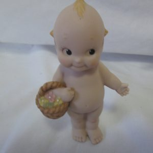 1991 Vintage Kewpie Doll Fine Porcelain Figurine Jesco Baby with Flower basket Fine Quality Cupid with blue wings praying