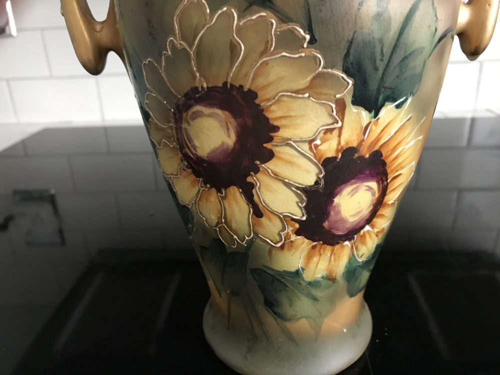 Late 1800s Large Sunflower Vase Carols True Vintage And Antiques