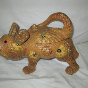 A RARE Find Pottery Cat Animal Covered Container Cookie Jar Display Crockery Daisies Mustard Color Dotted Animal