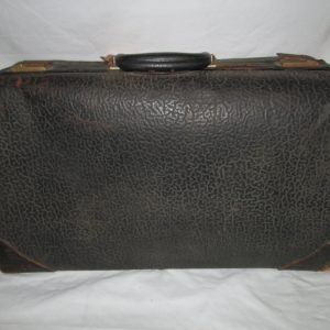 Antique 1800's all leather suitcase display home decor Black leather exterior very clean inside beige fabric leather fasteners and buckles