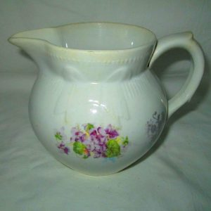 Antique 1903 Pottery Pitcher Creamer Violet Transfer ware Colonial Co.