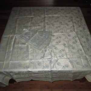 "Antique 52"" x 52"" Silver and Blue damask Tablecloth with 4 matching napkins"