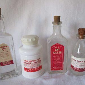 Antique Apothecary Pharmacy Medical Poison Bottles Ant Killer Iodine Tincture Coca Cola Syrup Camphor Spirit Pharmaceutical collectible jars