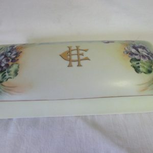 Antique Bavarian Porcelain Hand Decorated Glove Box EH Monogram Favorite Porcelain Bavaria Collectible Violas Violets Yellow trinket jewelry