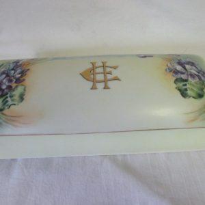 Antique Bavarian Porcelain Hand Decorated Glove Box EH Monogram Favorite Porcelain Bavaria Collectible Violas Violets Yellow trinket jewelry