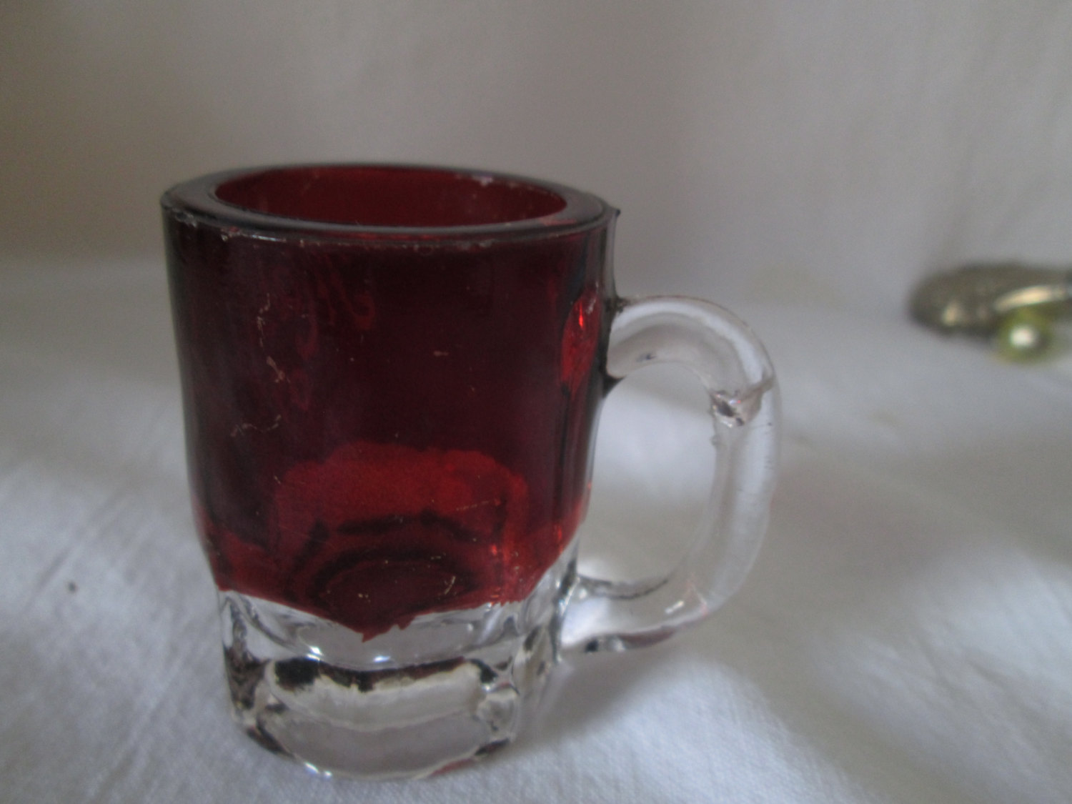 Antique Beautiful Red Flash Glass Toothpick holder Mug shaped Mary 1907 Engraved