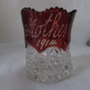 "Antique Beautiful Red Flash Glass Toothpick holder with Saw tooth top ""Mother 1914"" Engraved"