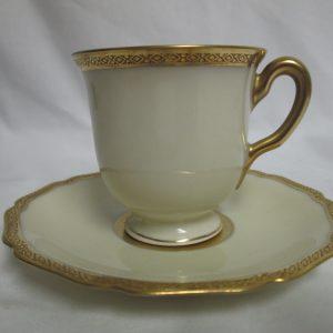 Antique Black Knight Demitasse tea cup & saucer Germany Bavaria Gold Ivory Hohenberg Bavaria Tea Cup and saucer Registered USA bone China