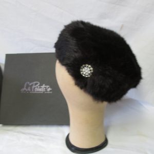 Antique Black Real Fur Pillbox hat with Rhinestone Pin Union Made USA Mint Condition Size 6 1/2 womans
