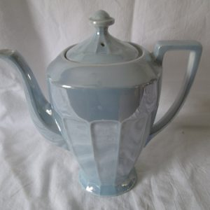 "Antique Blue Iridescent Chocolate Pot Czechoslovakia Fine China No Damage Panel Pattern 10"" tall"