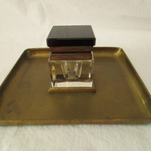 Antique Brass and Glass Ink Well Art Deco Style 1920's- Great Condition Black Lid brass