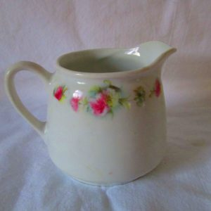 Antique Cream Pitcher Germany Pink flowers Green leaves transfer ware Pink Carnations