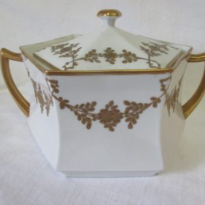 Antique CS Prussia Fine bone china Bisquit Sugar Hex Jar Double handled white heavy enameled gold trim Display Collectible Serving Dining