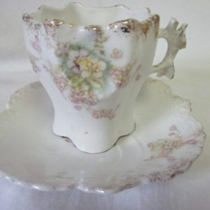 Antique Demitasse Tea cup and Saucer Bavaria Darling Hand decorated Collectible Display Tea cup and saucer heavy gold trim fine china