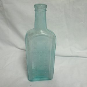 Antique Dr. Pierce's Golden Medical Discovery Medicine Bottle Glass Jar 1890's Aqua blue