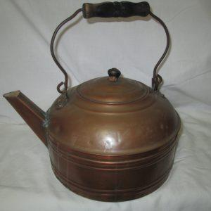 Antique Extra Large copper tea kettle teapot tea pot stove top copper with wooden handle all copper