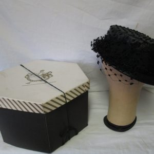 Antique French Gage Qualite' Mesh Hat with black knotted Netting and large gross grain bow in Box size 6 1/2 Ladies Womans