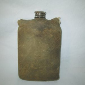 Antique Glass Flask with cowhide hand covered hand stitched pouch 1800's
