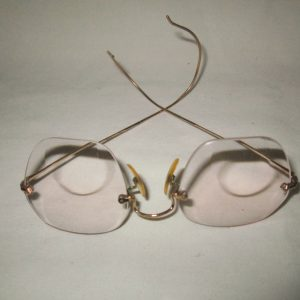 Antique Granny Glasses no rims gold trim and bows Bifocals Display Glasses Eyeware Gold Filled 1/10th 12Kt