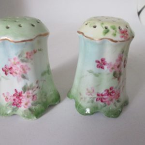 Antique hand painted salt & pepper shakers Victorian Era Pink floral light green gold gilt Porcelain cottage shabby chic collectible display