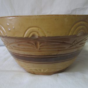 "Antique heavy Pottery Crock Roseville Ohio Mixing Bowl 5 3/8"" tall 10 1/4"" across Perfect for Christmas Cookies"