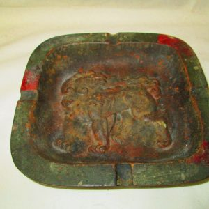 Antique Iron Ash Tray Raised Foo Dog in bottom