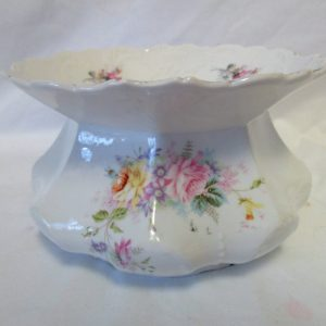Antique large Beautiful White Urn Vase Pot with transferware floral pattern scalloped rim paneled body  flowers pink yellow purple green