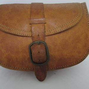 Antique leather pouch money bag Brazil Genuine cow hide with brass buckle and leather strap