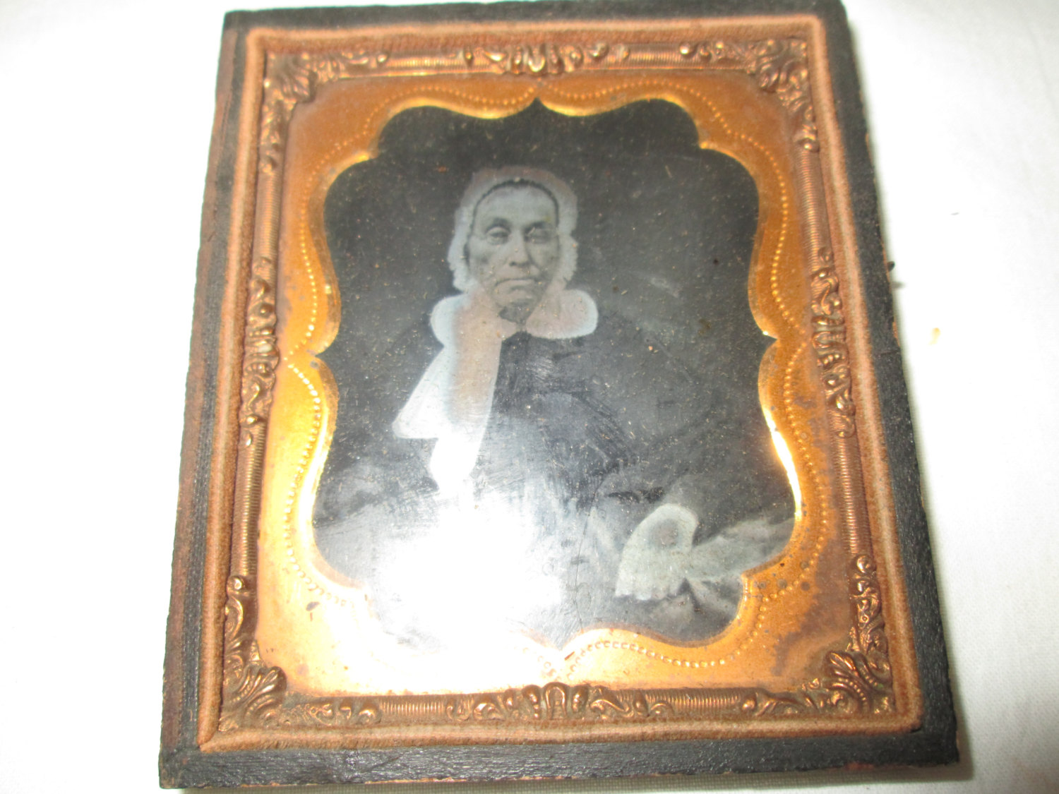 Antique Leather Travel Frame 1/2 case with Ambrotype woman photo glass with gold trim Civil War Photo 1854-1865 Instant ancestors