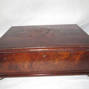 Antique Locking Box Velvet lined base wooden lid wooden inlaid flower top inset hinges Nice condition Coins, jewelry, trinkets, watches