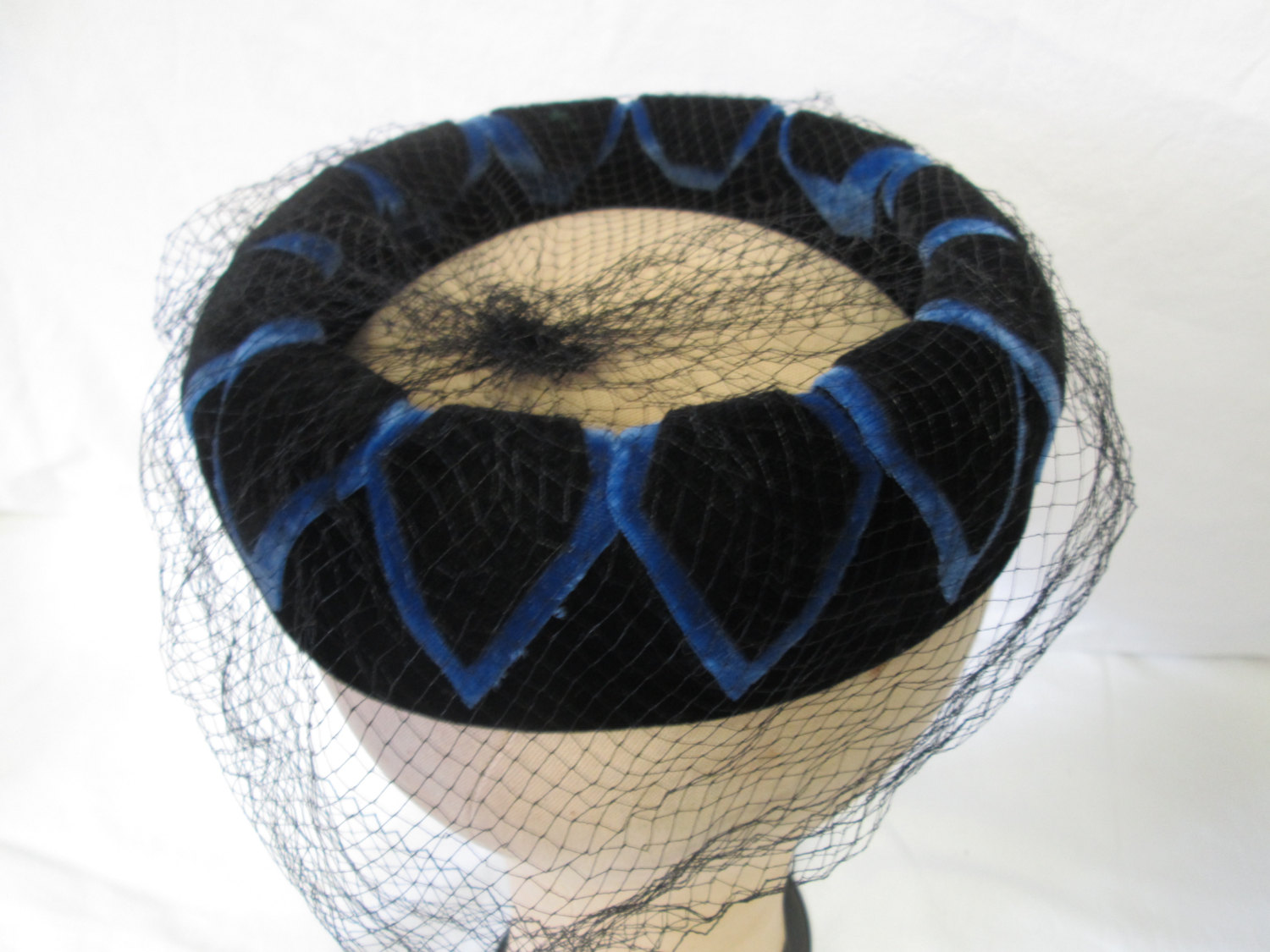 Antique Navy and Royal Blue Velvet pillbox hat ring with black netting  beautiful pattern and design f7dc97f8cf2