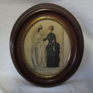 Antique Oval Wooden Frame Gold trim Godey's Fashions Advertising Victorian Women's clothing