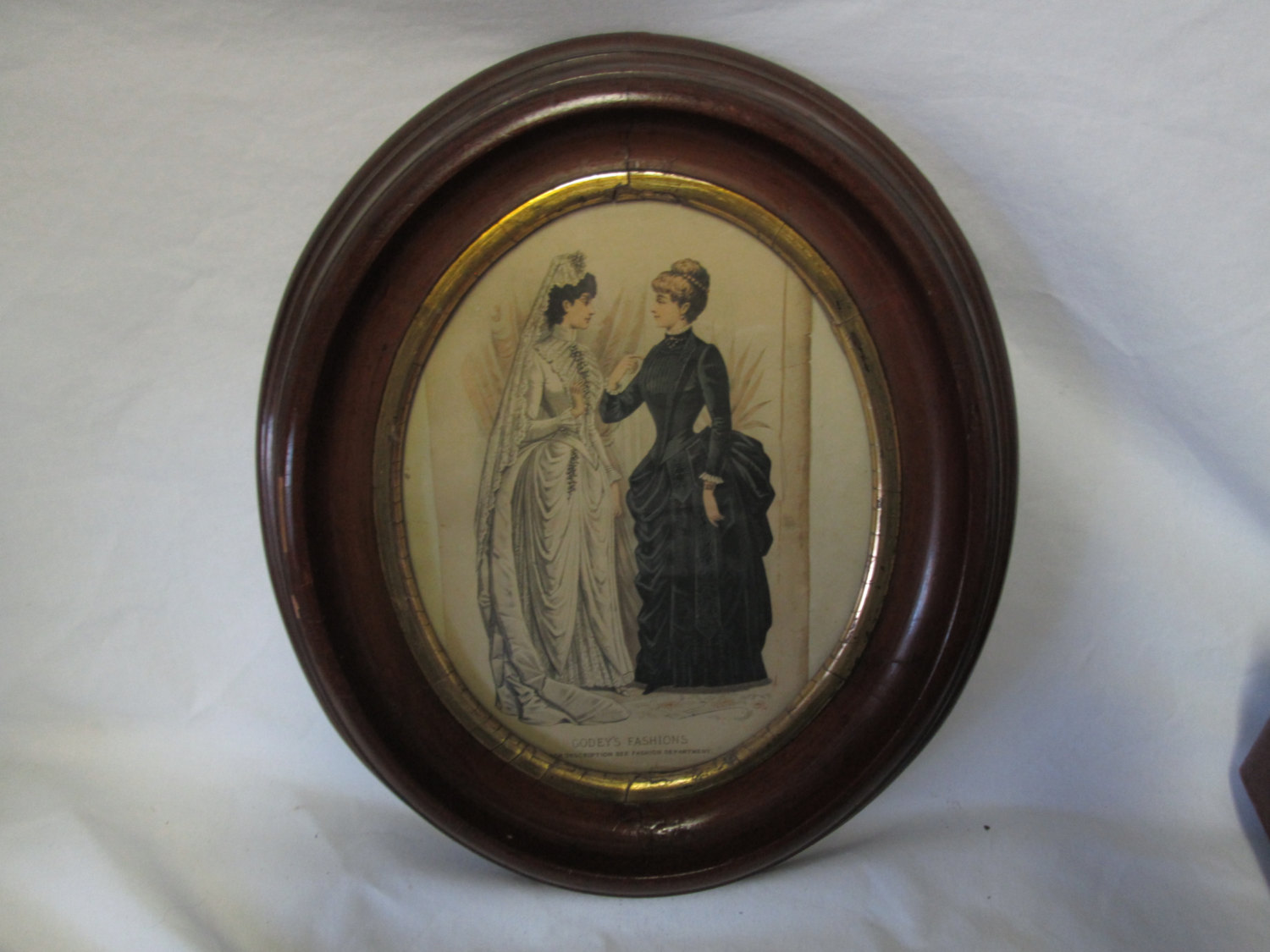 Antique Oval Wooden Frame Gold Trim Godey S Fashions