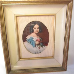 Antique Picture frame with Victorian girl picture gold and black frame wooden