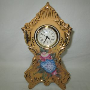 Antique Porcelain HAND PAINTED Mantle clock floral with ROSE Back Quartz clock center