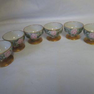 Antique porcelain set of 6 Bavarian open salt cellars Pre war hand painted pink roses gray background gold pedestal gold top rim