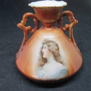 Antique Portrait Vase Brown Victorian Era Porcelain Double handle vases cottage shabby chic collectible display Queen Victoria