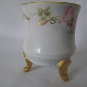 Antique Ring Dish trinket toothpick holder hand painted fine bone china footed round porcelain q-tip container vanity