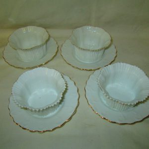Antique set of 4 ramekins fine bone china unmarked Bavaria white with gold trim Perfect for cup cake dress up