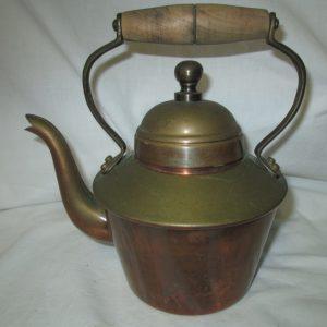 Antique Small copper tea kettle teapot tea pot stove top copper with wooden handle all copper