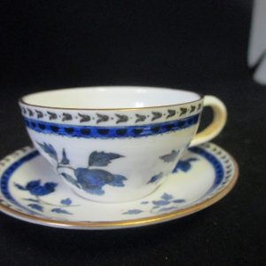 Antique Spode Copeland Miniature Tea cup and Saucer Blue and White Gold trim display collectible farmhouse cottage shabby chic England