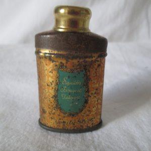 Antique Squibbs Boquet Talcum Powder Can still full Metal tin litho can with powder