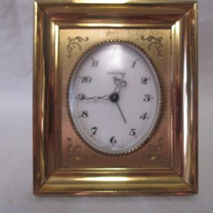 Antique Swiz Swiss Brass 8 day Alarm Clock on stand Etched detail in Brass Heavy