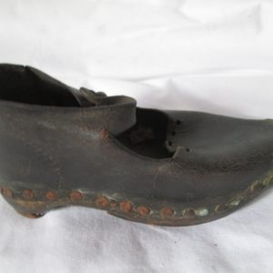 Antique Turn of the century Hand made Child's shoe black leather wood sole with cast iron reinforced bottom