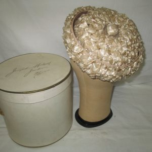 Antique USA Woven Straw Hat Nylon Beige Mr. D' USA pillbox hat Mid Century Size 6 1/2