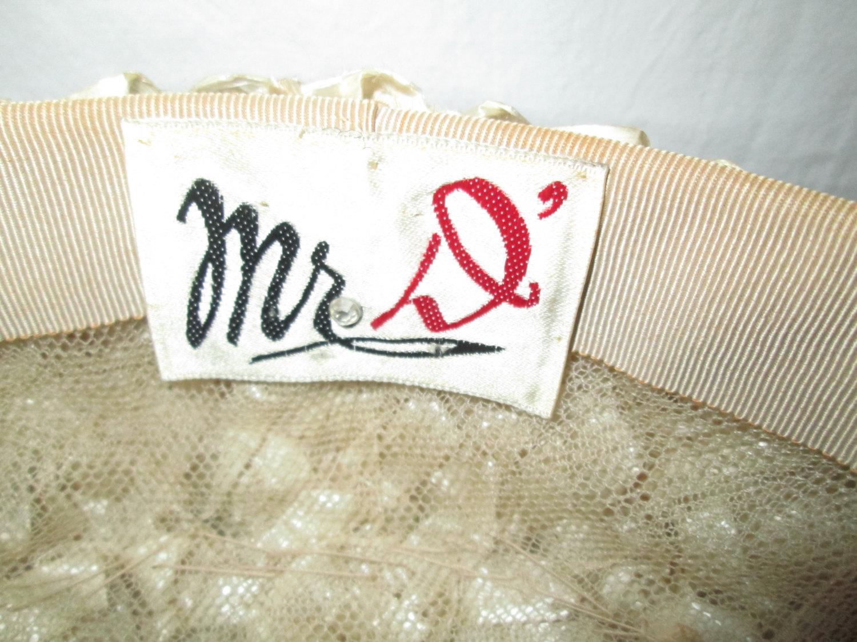 Antique USA Woven Straw Hat Nylon Beige Mr. D' USA pillbox hat Mid Century Size 6 1/2
